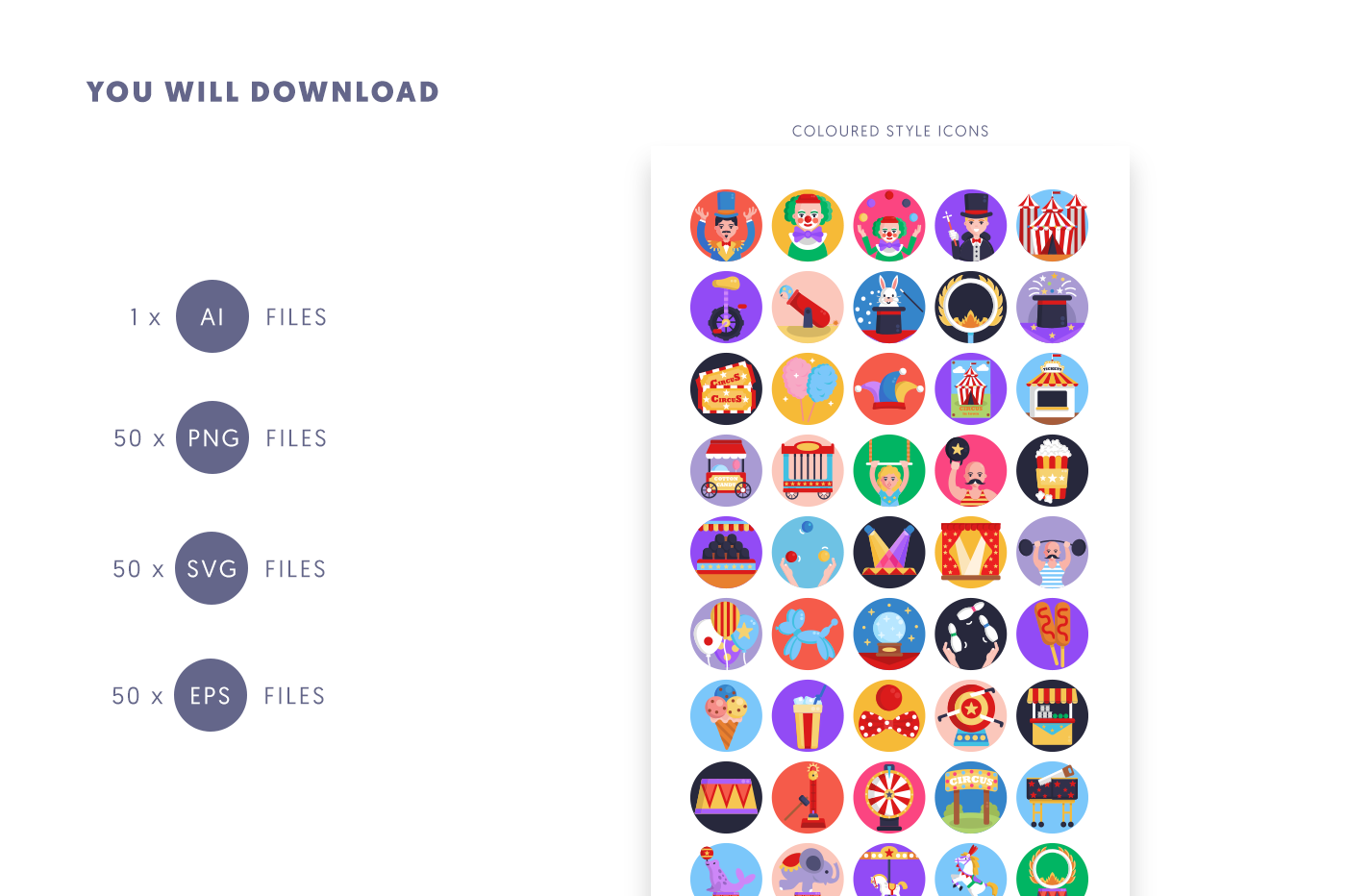 Compatible 50 Circus Icons pack