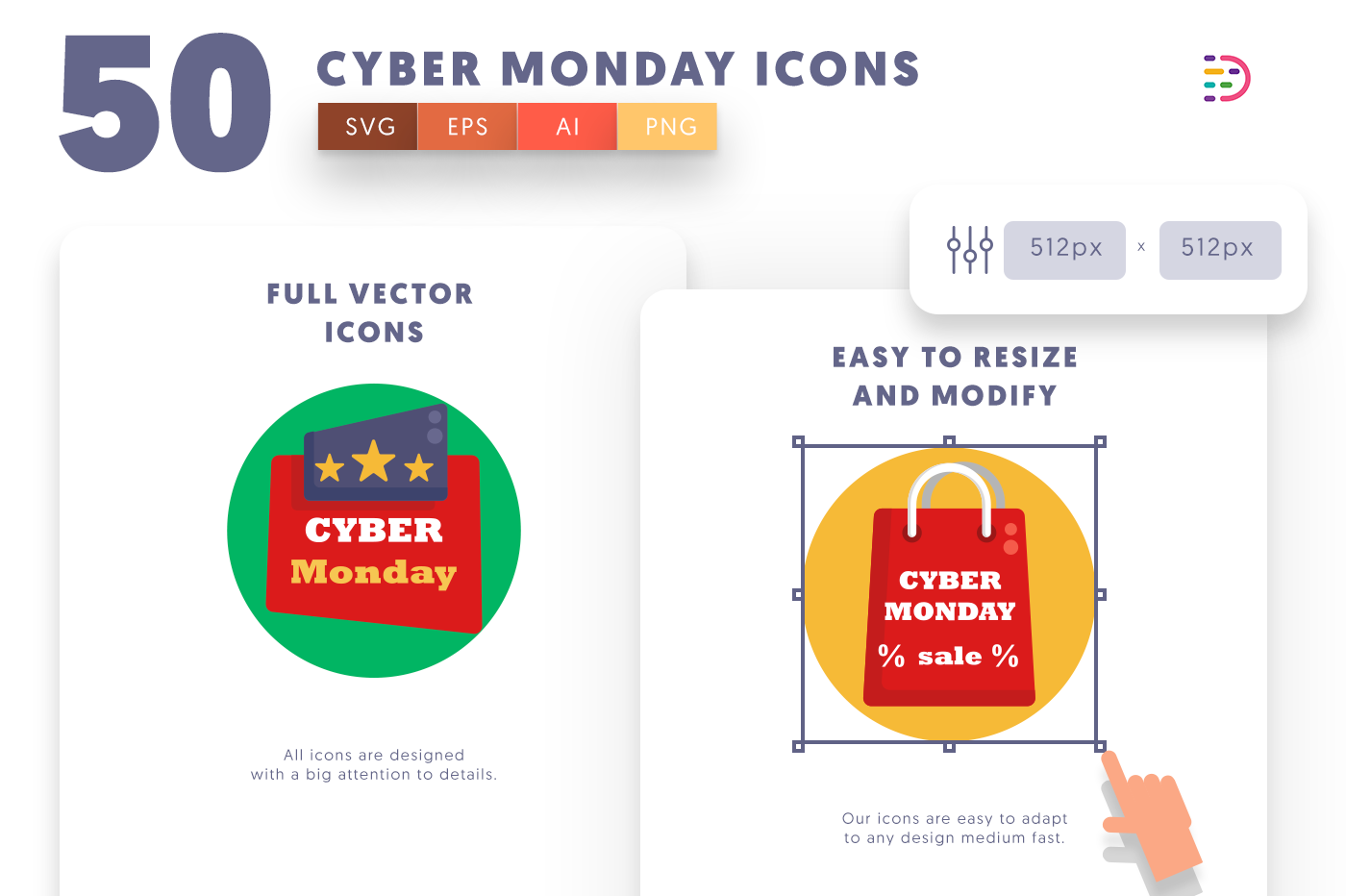 Full vector 50 Cyber Monday Icons