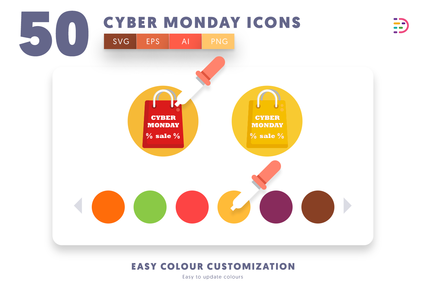 Customizable and vector 50 Cyber Monday Icons