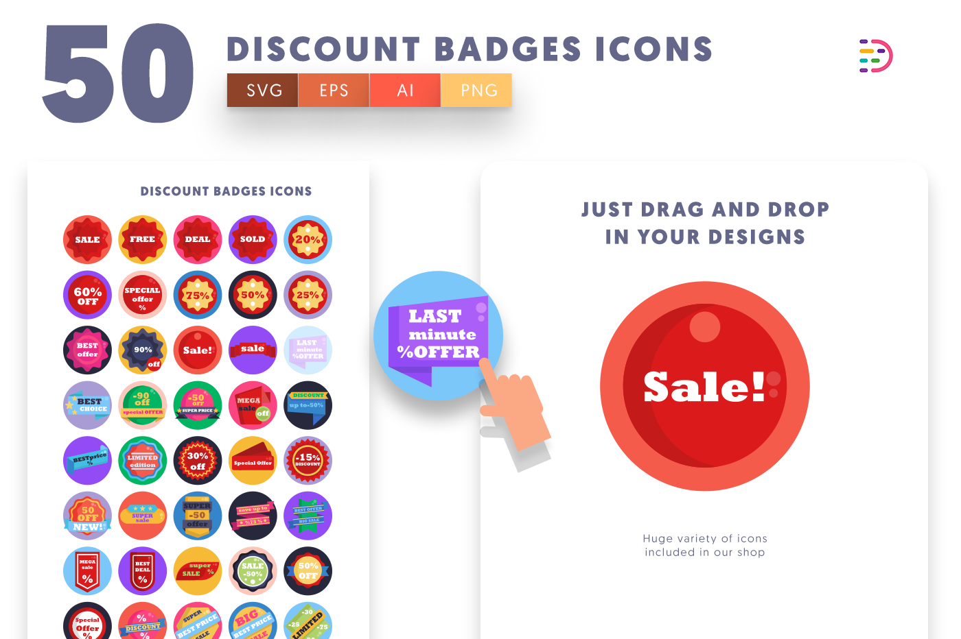 Drag and drop vector 50 Discount Badges Icons