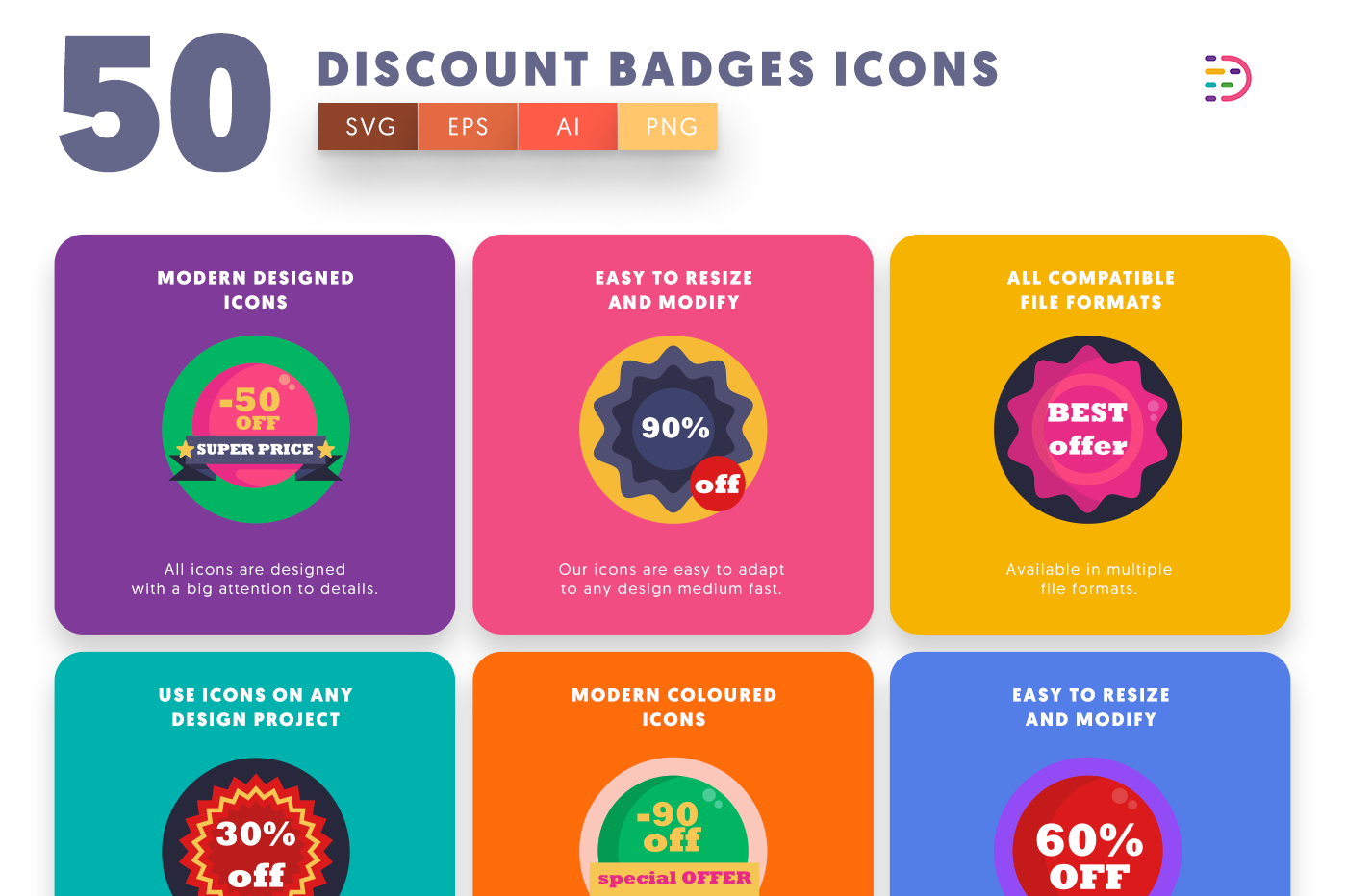 50 Discount Badges Icons with colored backgrounds
