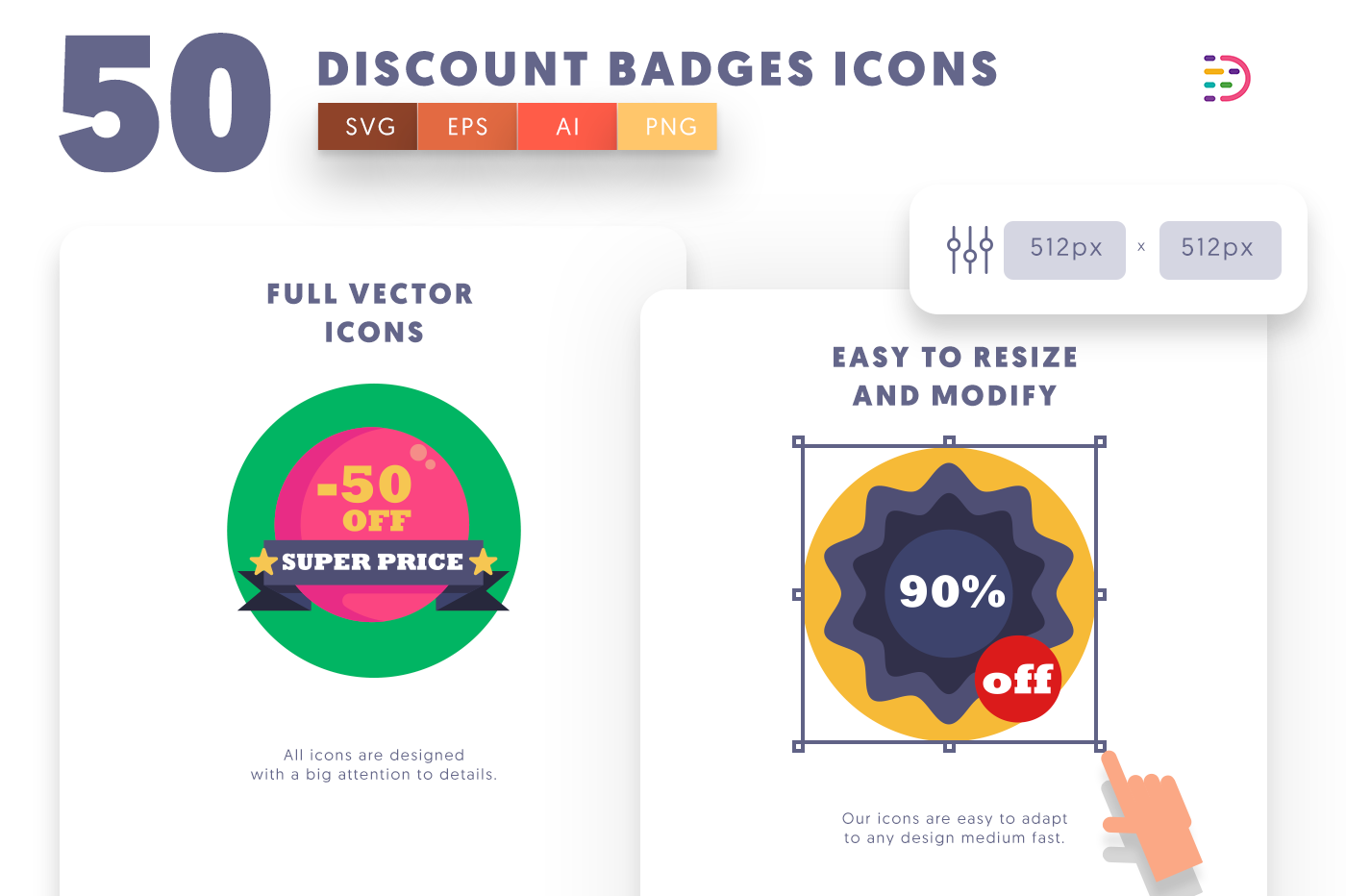 Full vector 50Discountbadges Icons