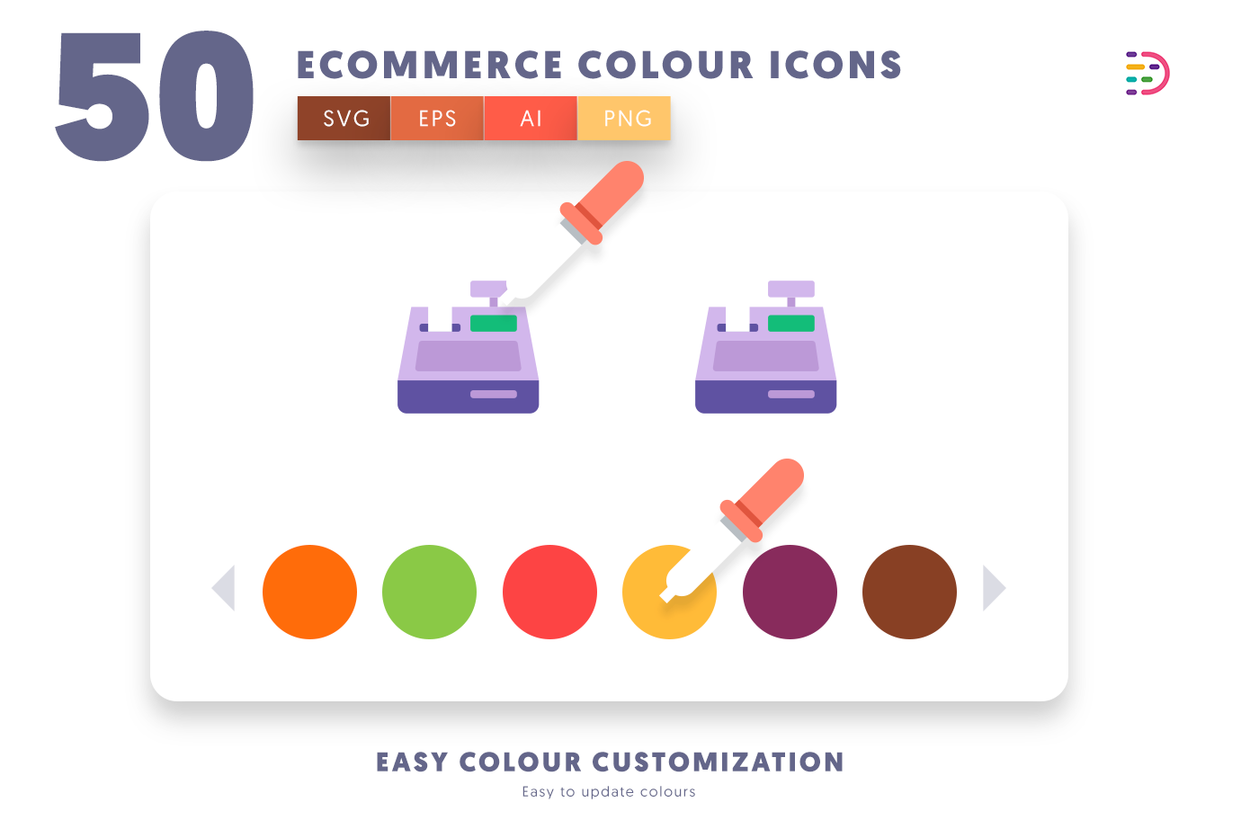 Customizable and vector 50 Ecommerce Colour Icons