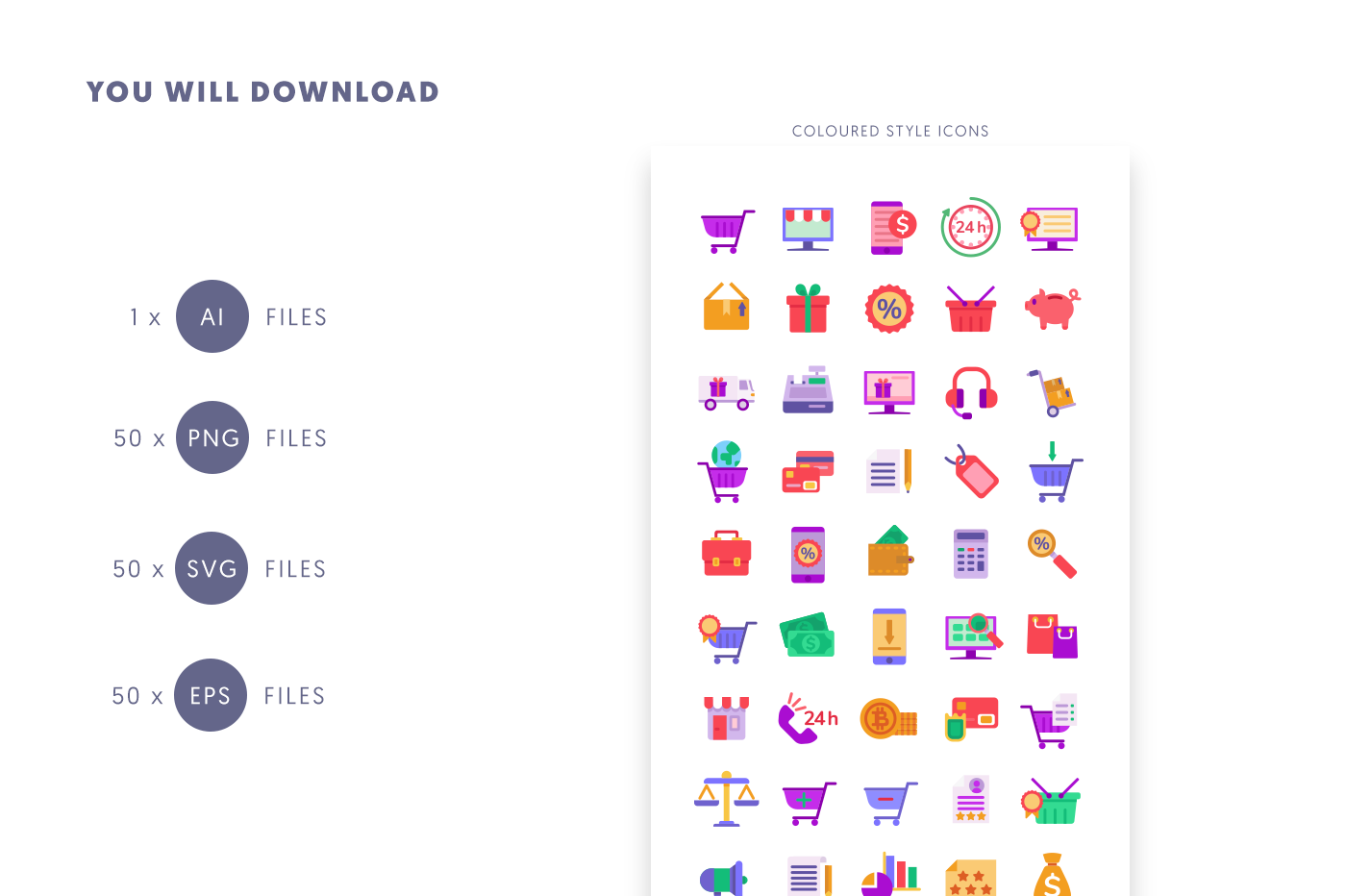Compatible 50 Ecommerce Colour Icons pack