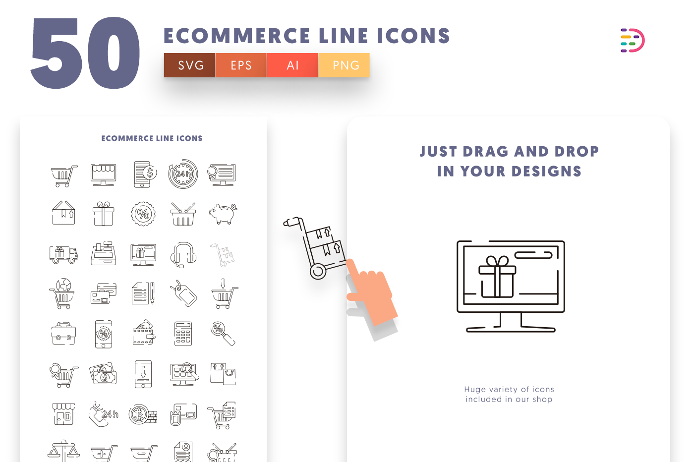 Drag and drop vector 50 Ecommerce Line Icons