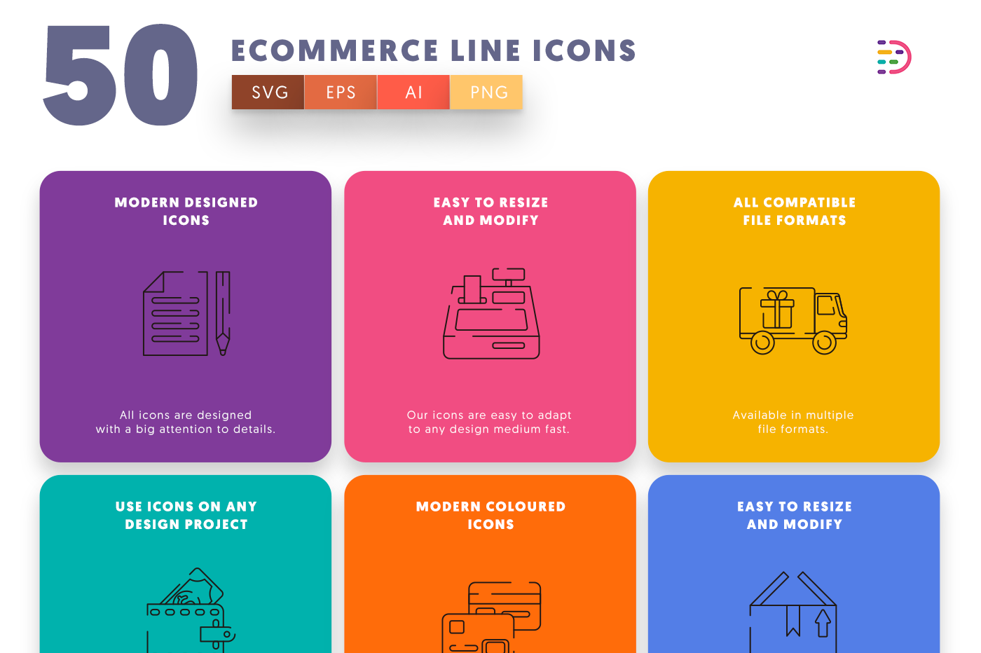 50 Ecommerce Line Icons with colored backgrounds