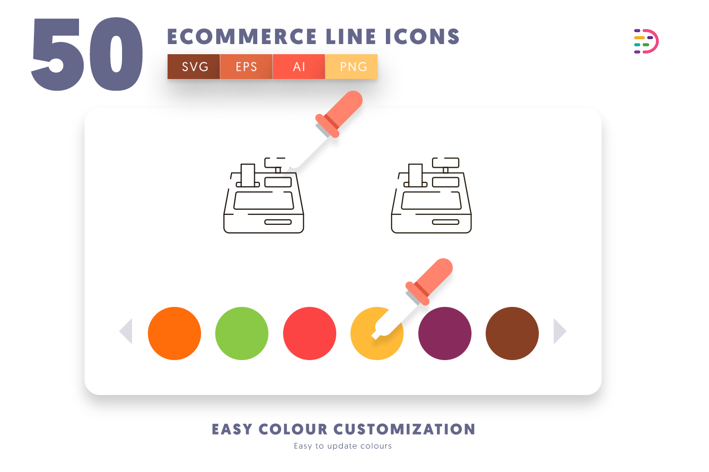 Customizable and vector 50 Ecommerce Line Icons
