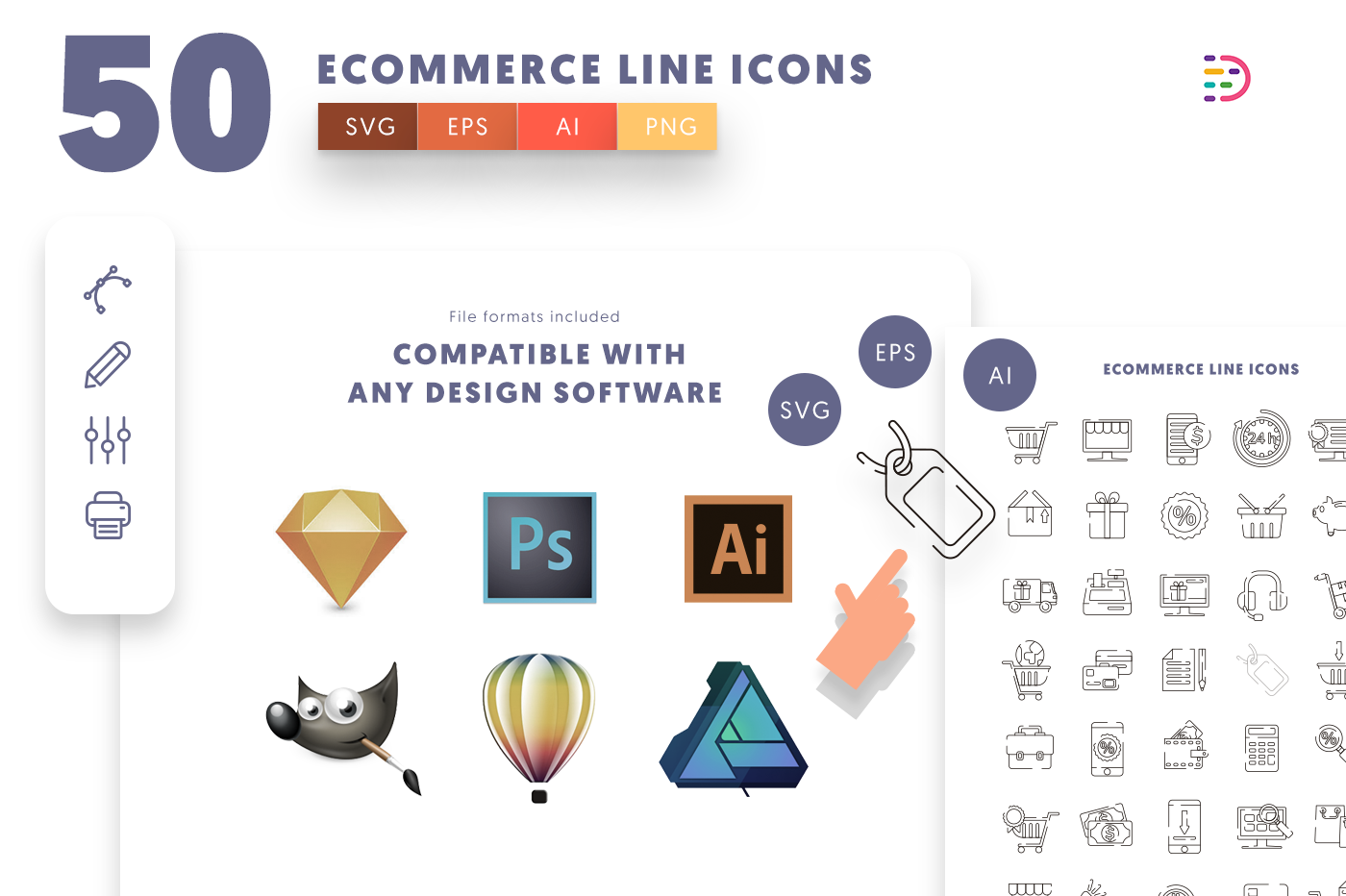 full vector 50 Ecommerce Line Icons EPS, SVG, PNG
