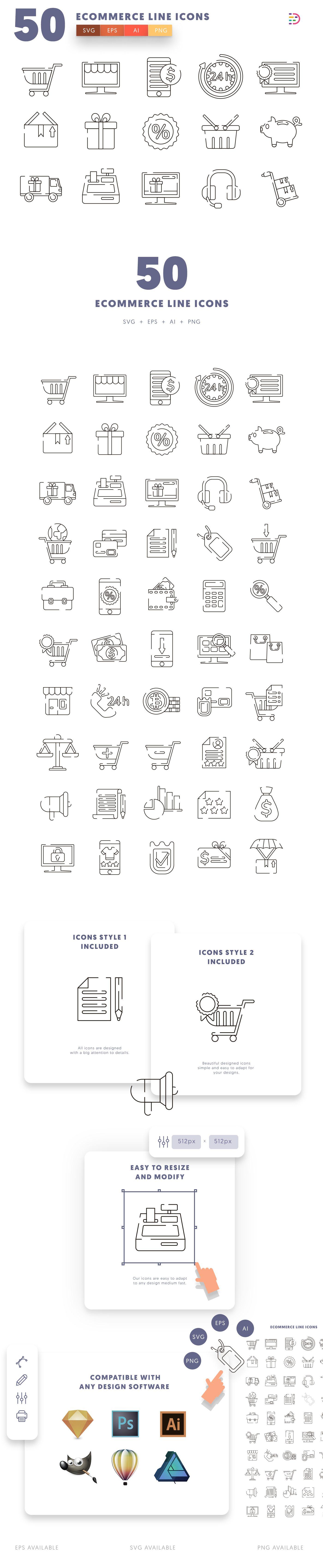 Ecommerce Line icons info graphic