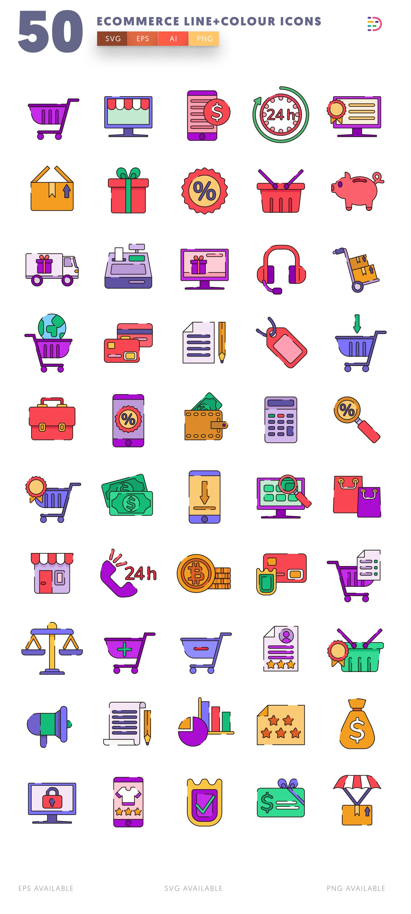 Ecommerce Line+Colour icon pack