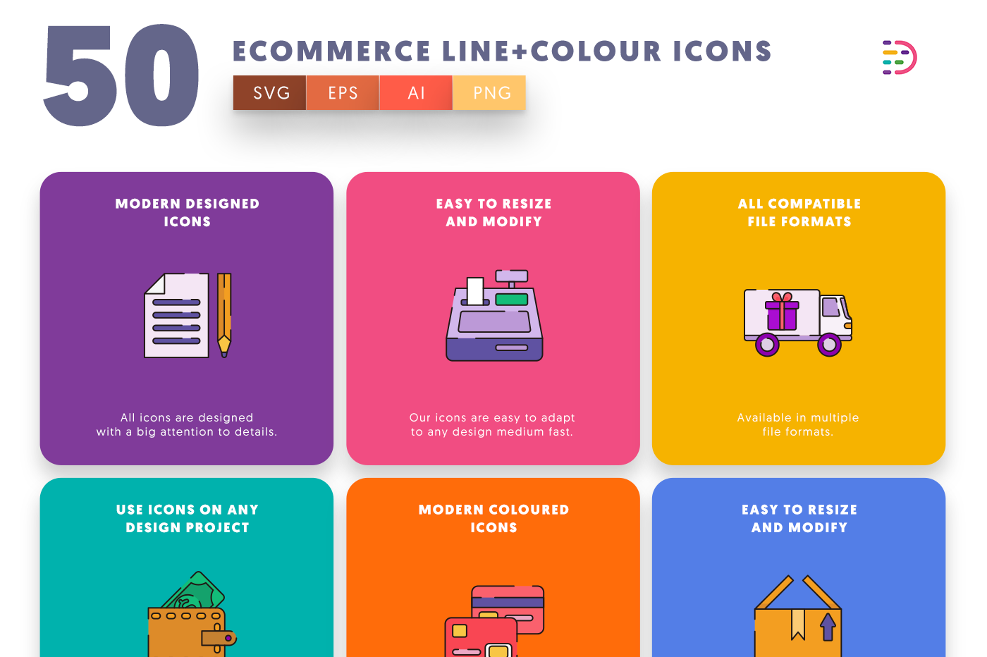50 Ecommerce Line+Colour Icons with colored backgrounds