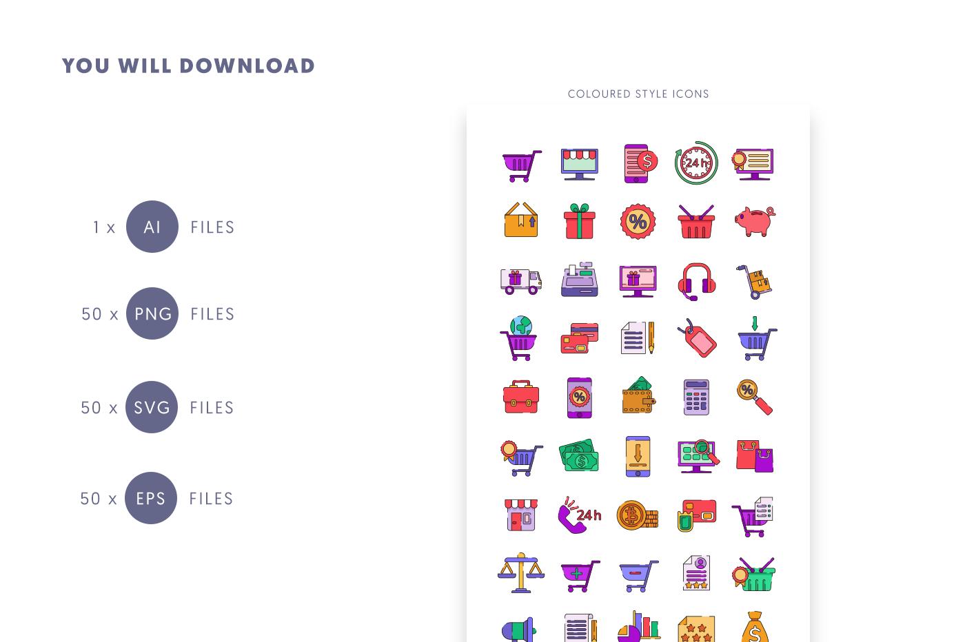 Compatible 50 Ecommerce Line+Colour Icons pack