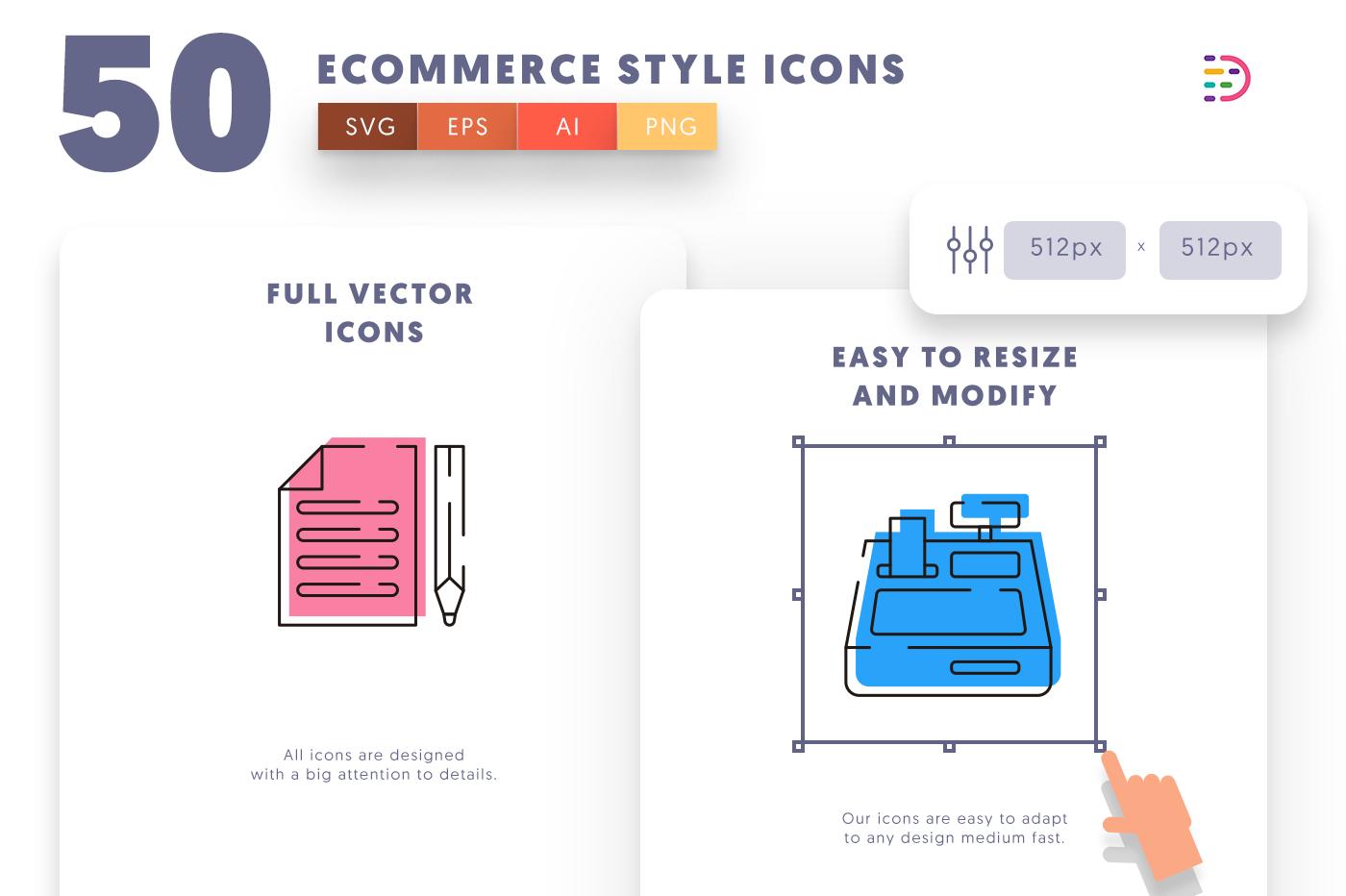 Full vector 50EcommerceLine Icons