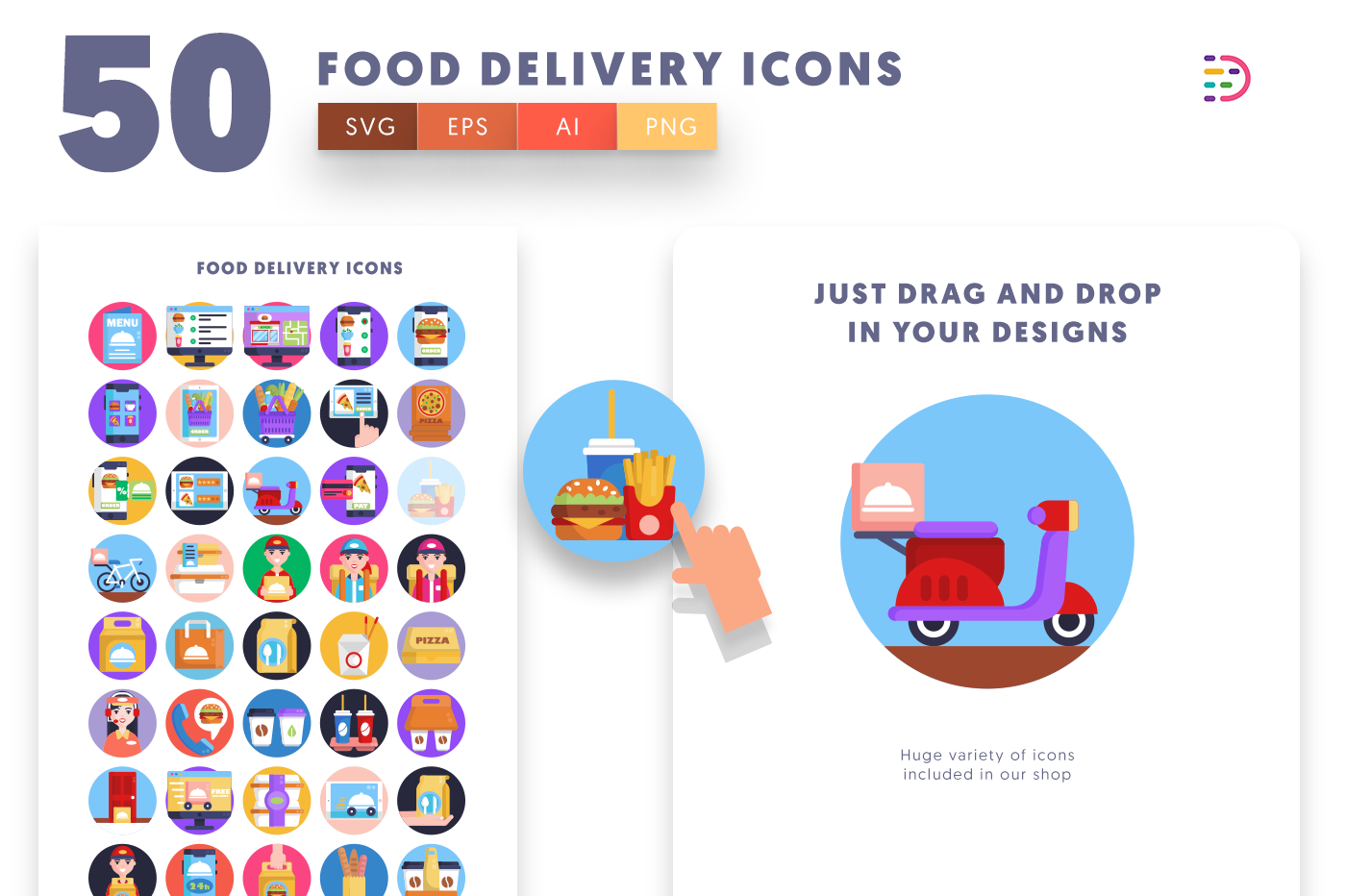 Drag and drop vector 50 Food Delivery Icons