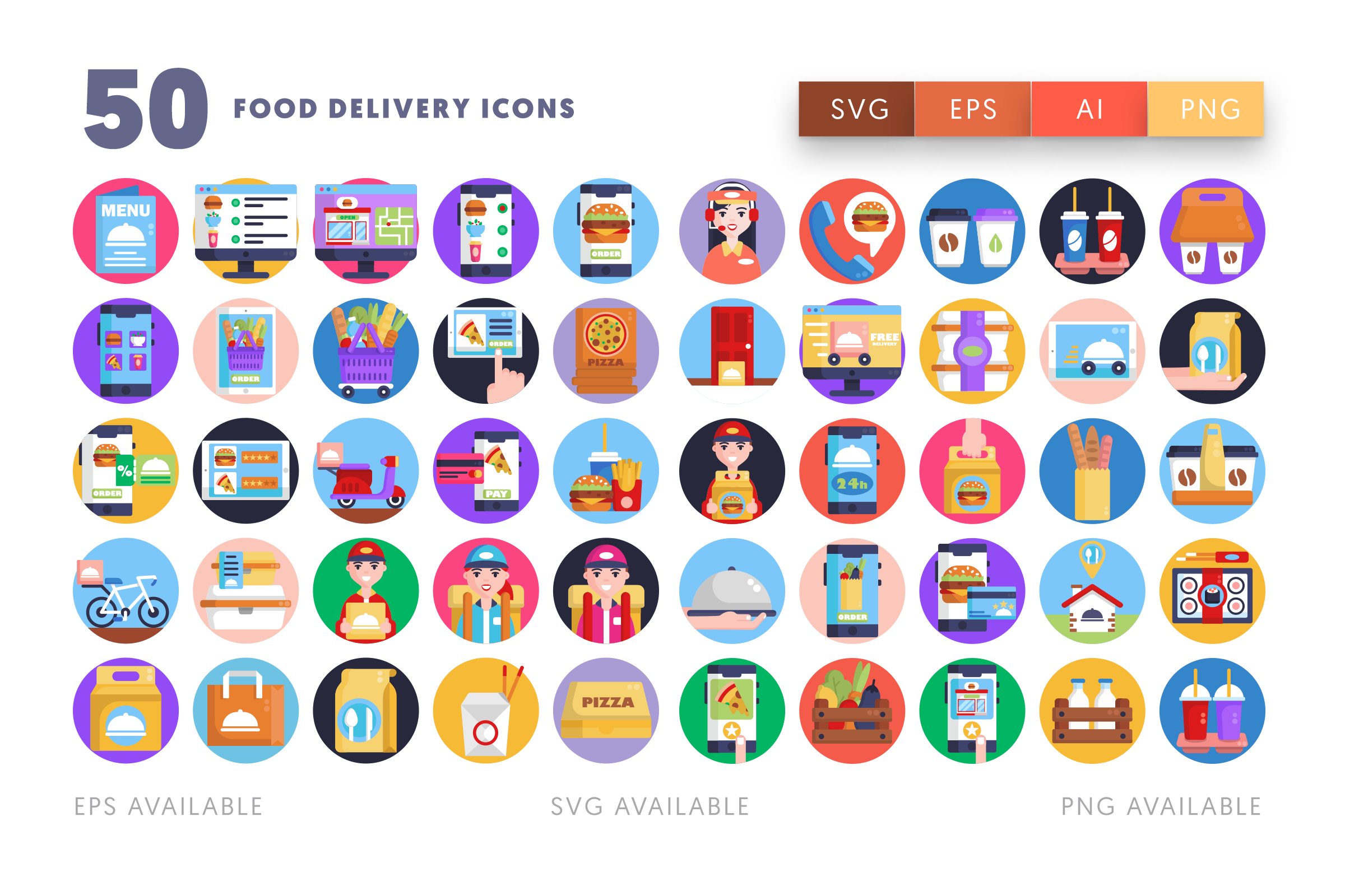 Food Delivery icons png/svg/eps