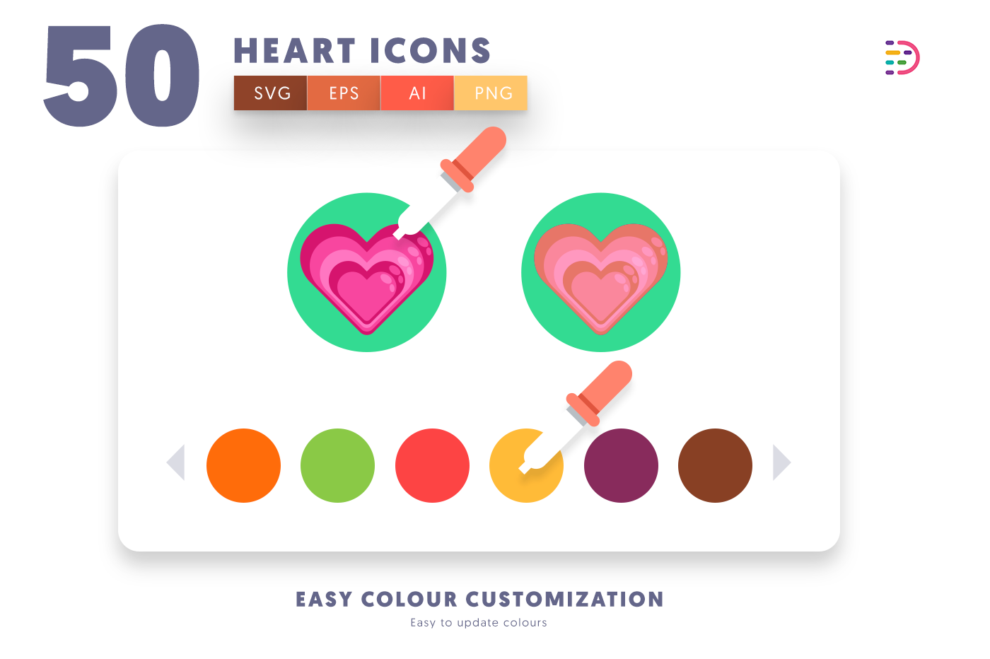 Customizable and vector 50 Heart Icons