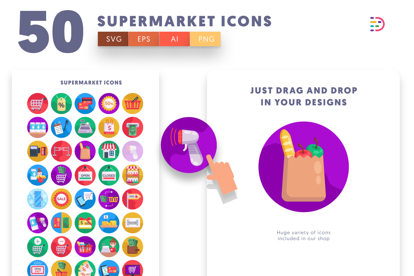 Drag and drop vector 50 Supermarket Icons