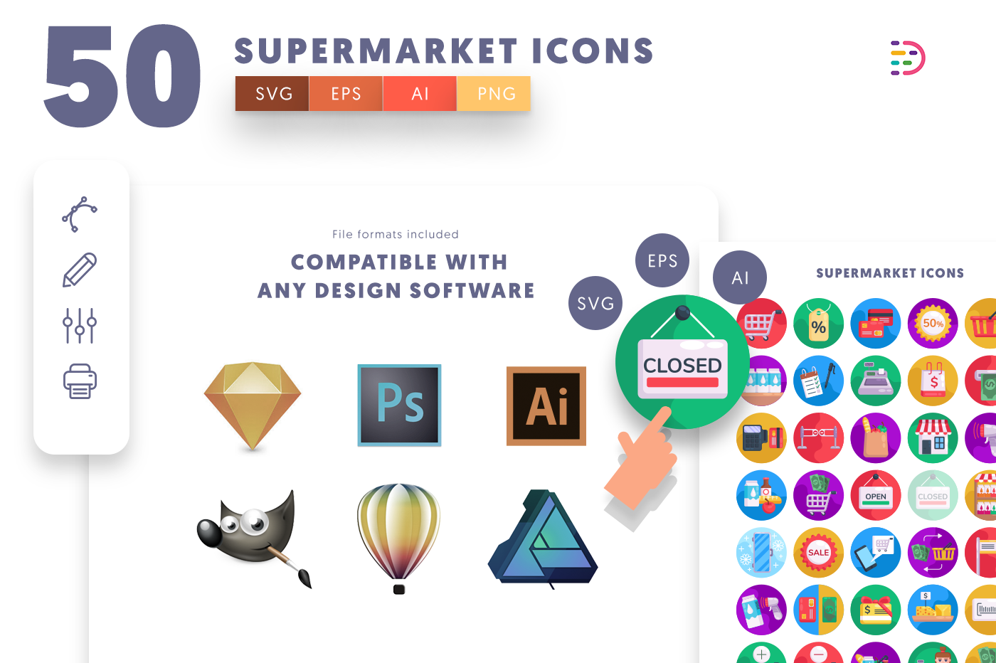 full vector 50 Supermarket Icons EPS, SVG, PNG