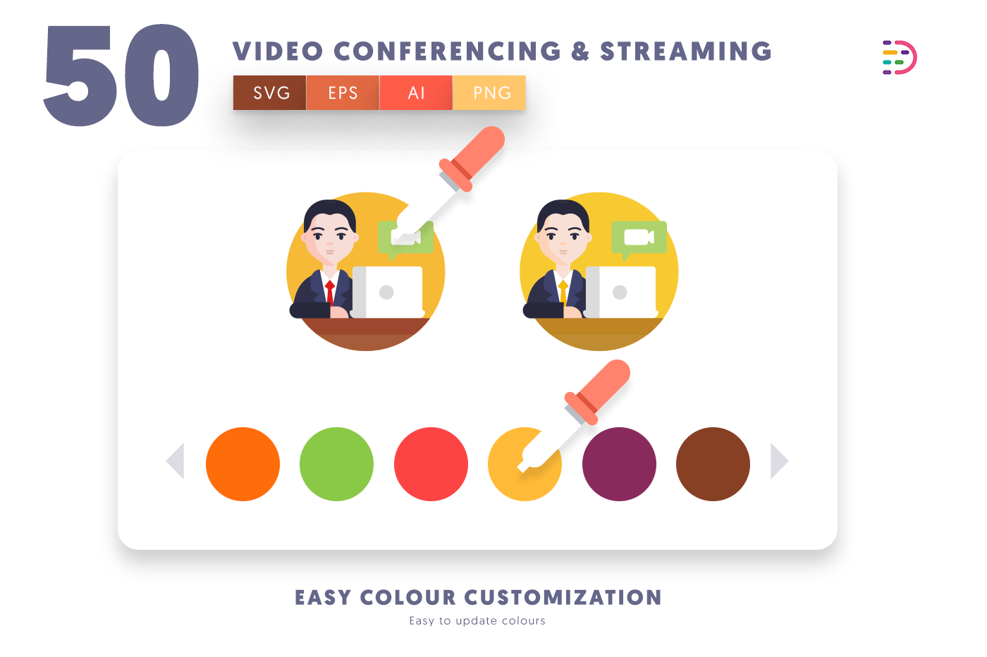 Customizable and vector 50 Video Conference & Streaming Icons