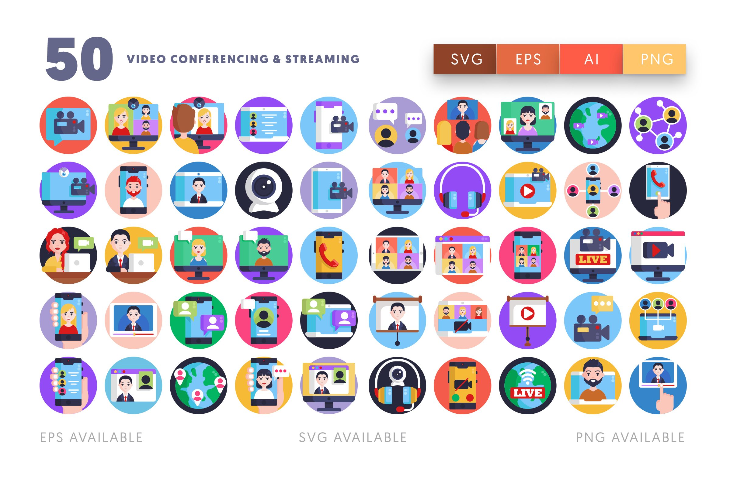 Video Conference & Streaming icons png/svg/eps