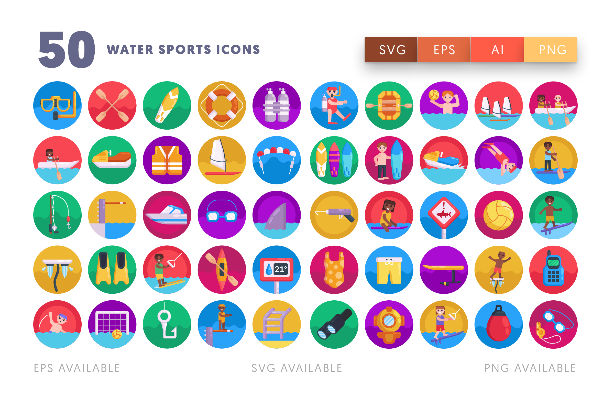 Water Sports icons png/svg/eps