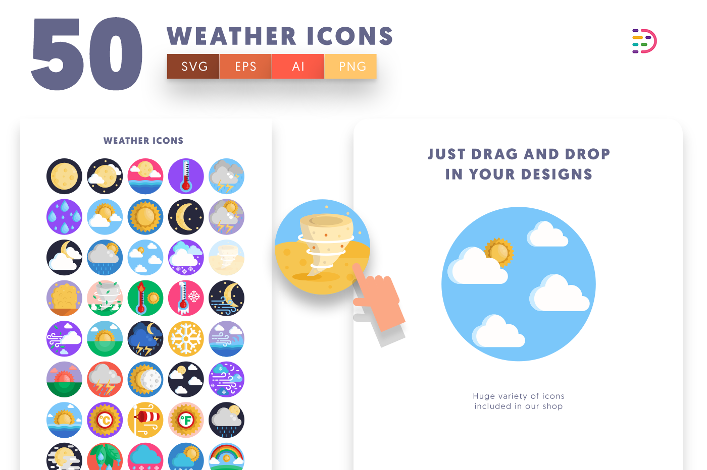Drag and drop vector 50 Weather Icons