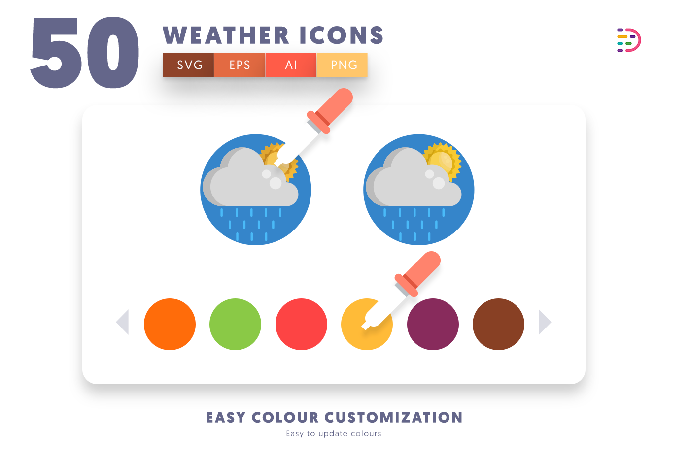 Customizable and vector 50 Weather Icons