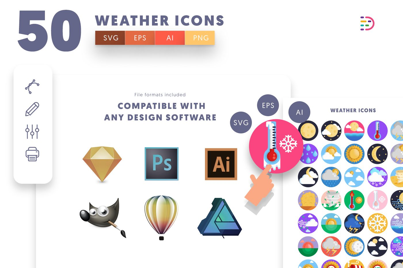 full vector 50 weather Icons EPS, SVG, PNG
