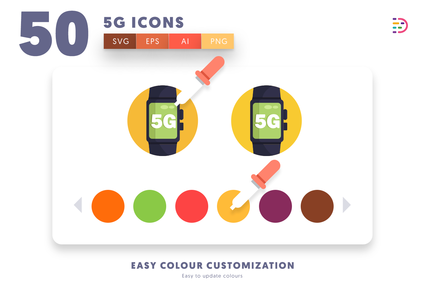 Customizable and vector 50 5G Icons