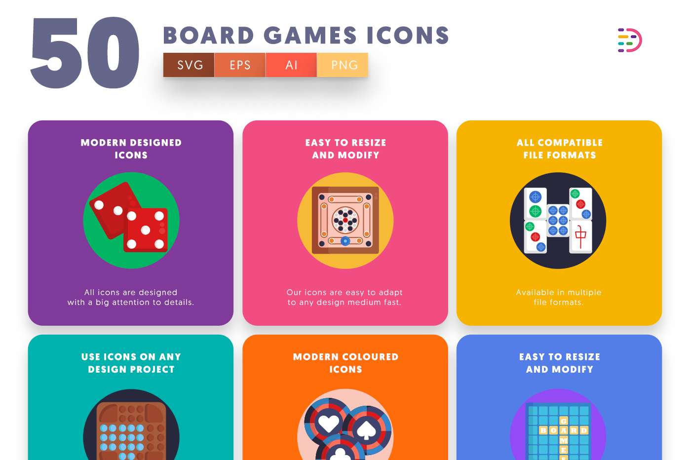 50 Board Games Icons with colored backgrounds