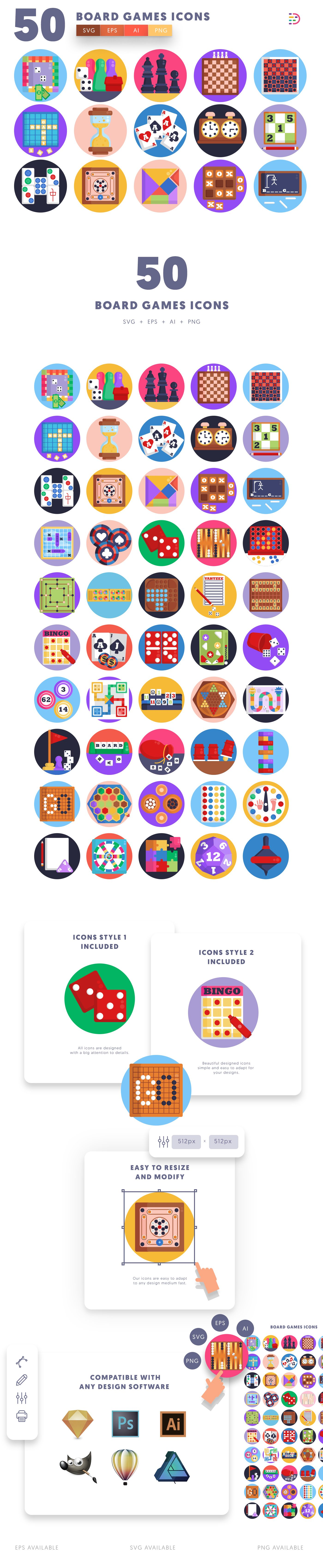 Board Games icons info graphic