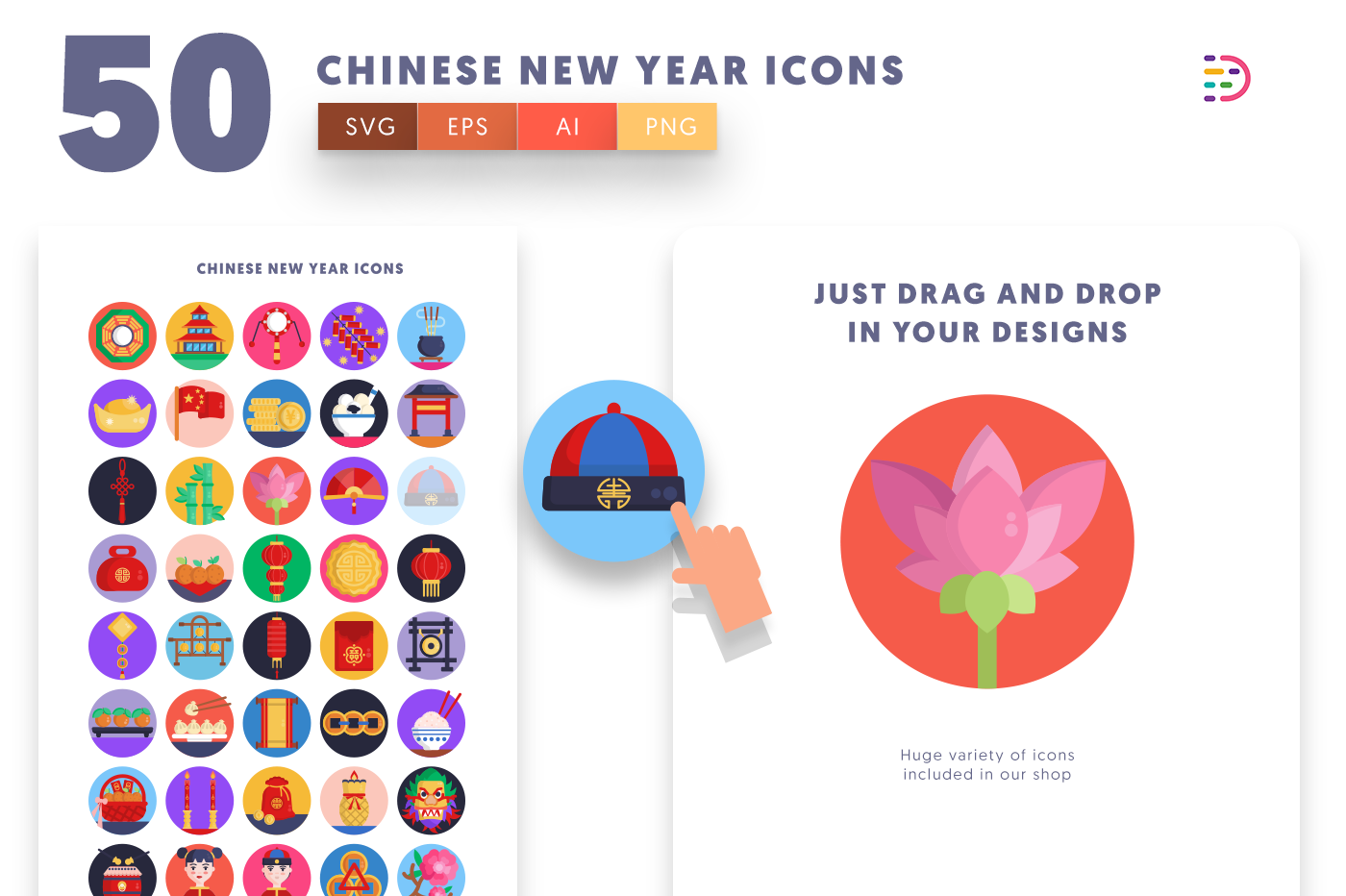 Drag and drop vector 50 Chinese New Year Icons