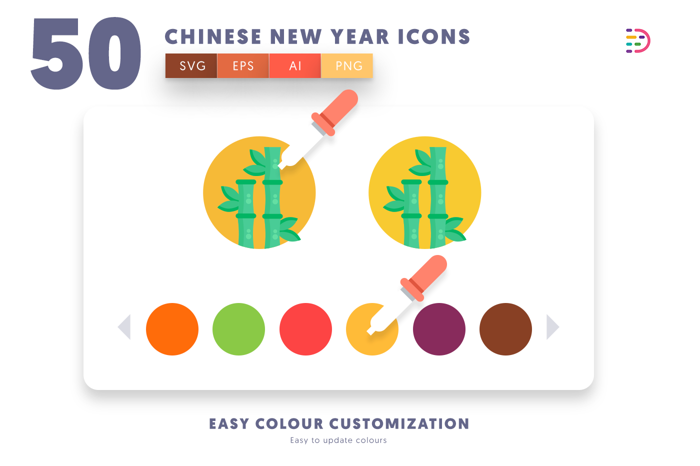 Customizable and vector 50 Chinese New Year Icons