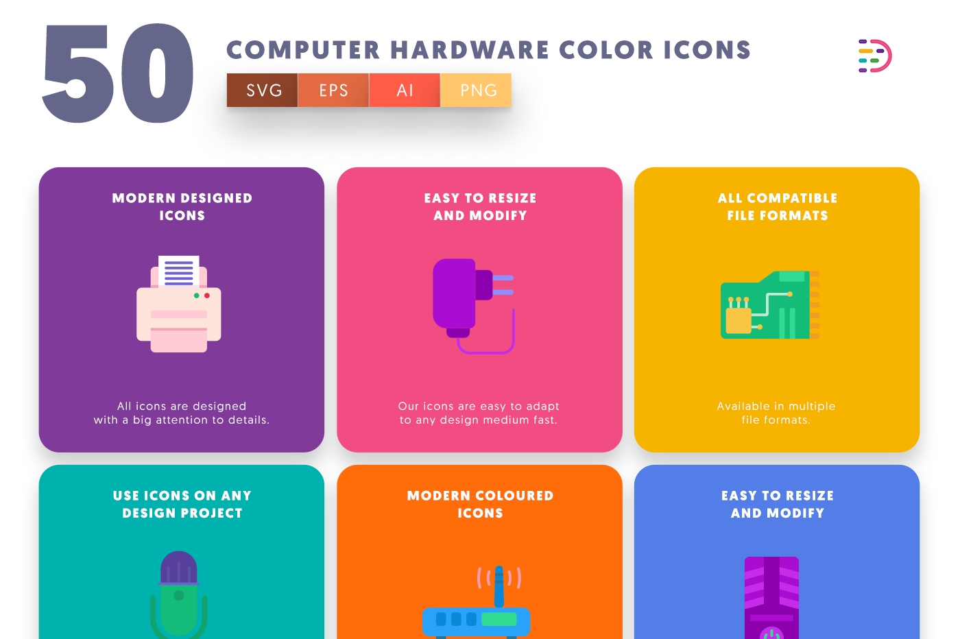 50 Computer Hardware Color Icons with colored backgrounds