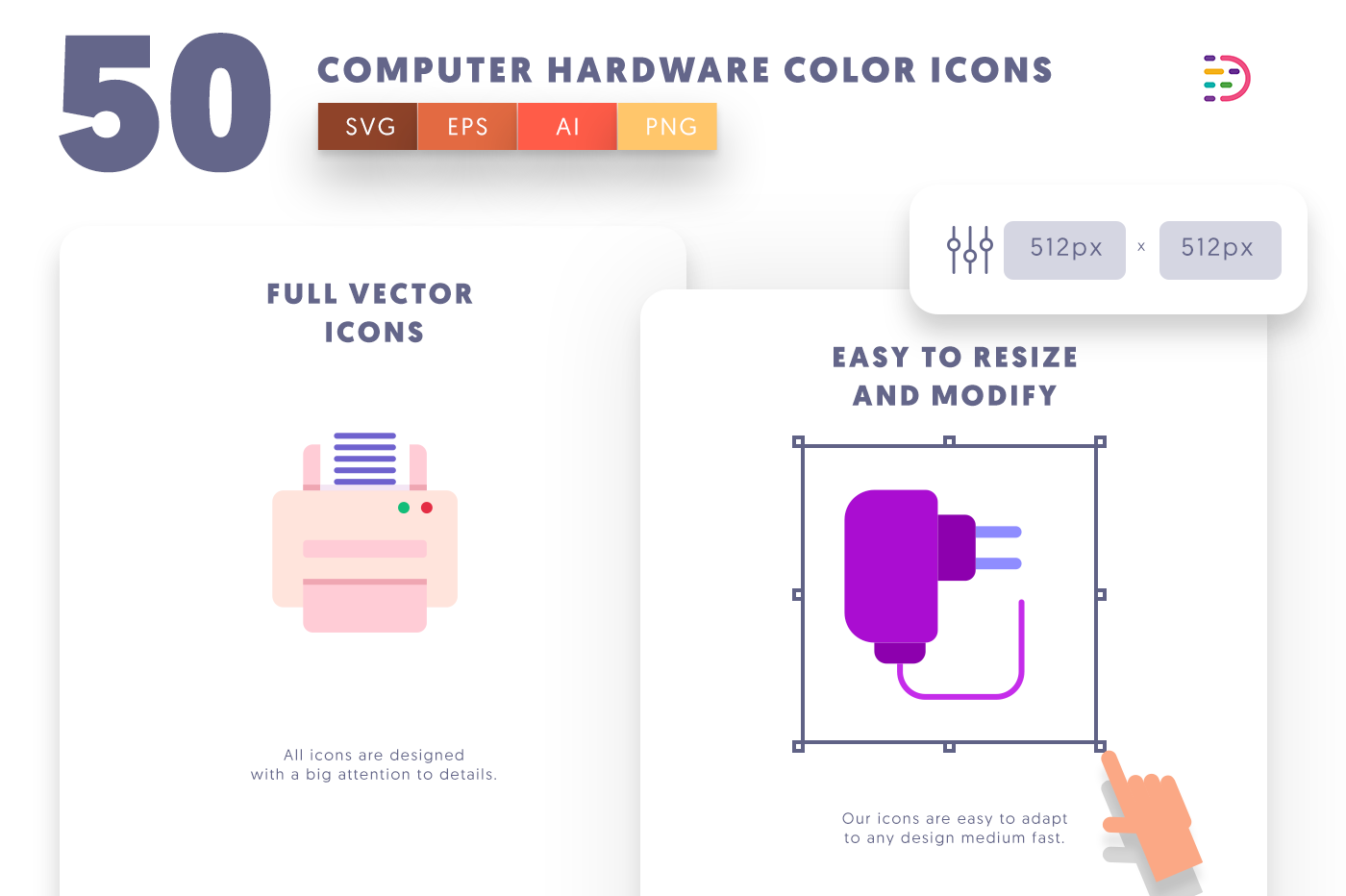 Full vector 50ComputerHardwareColor Icons