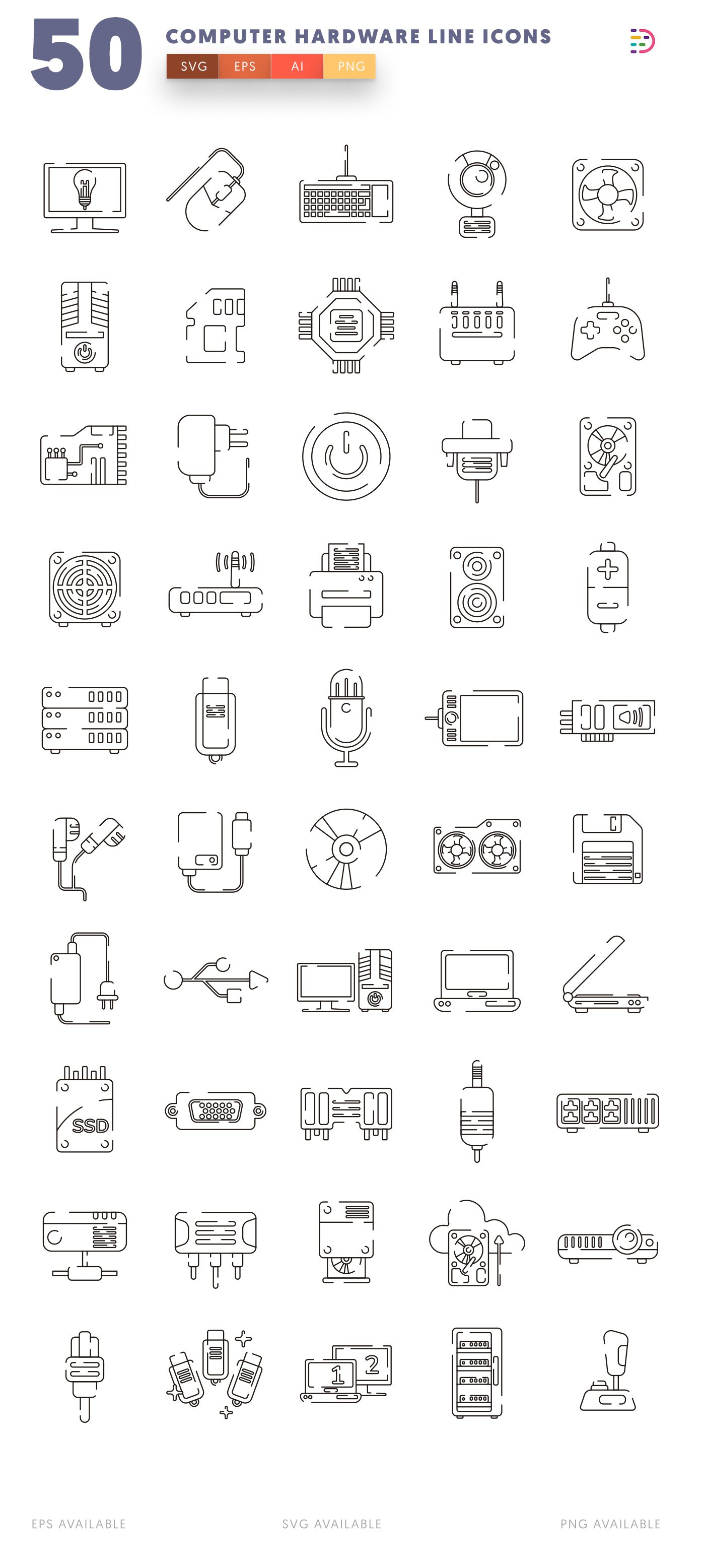 Computer Hardware Line icon pack