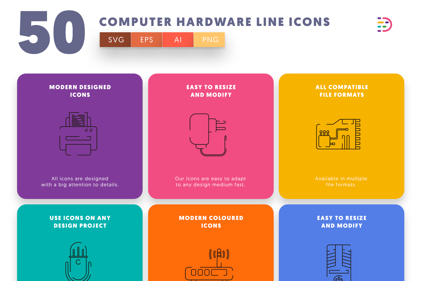 50 Computer Hardware Line Icons with colored backgrounds