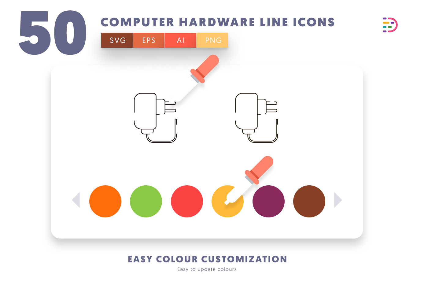 Customizable and vector 50 Computer Hardware Line Icons
