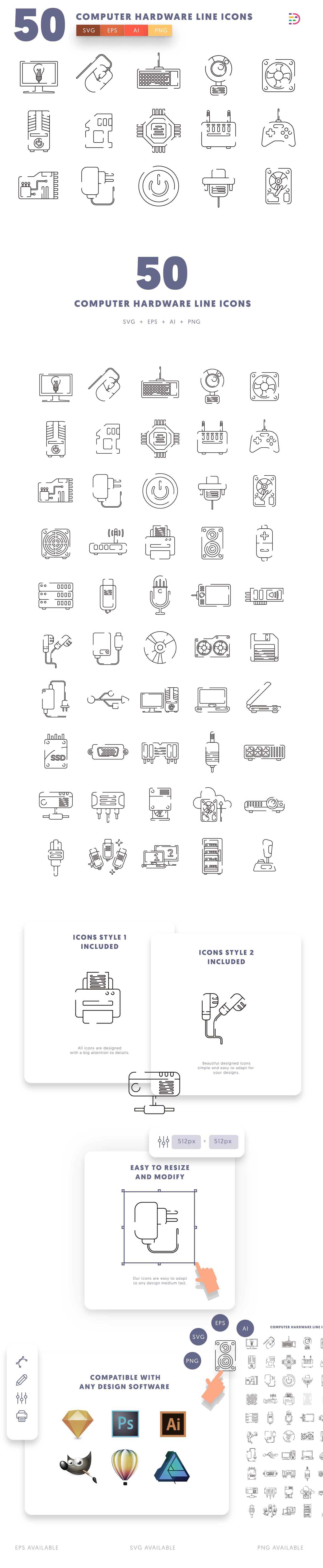 Computer Hardware Line icons info graphic