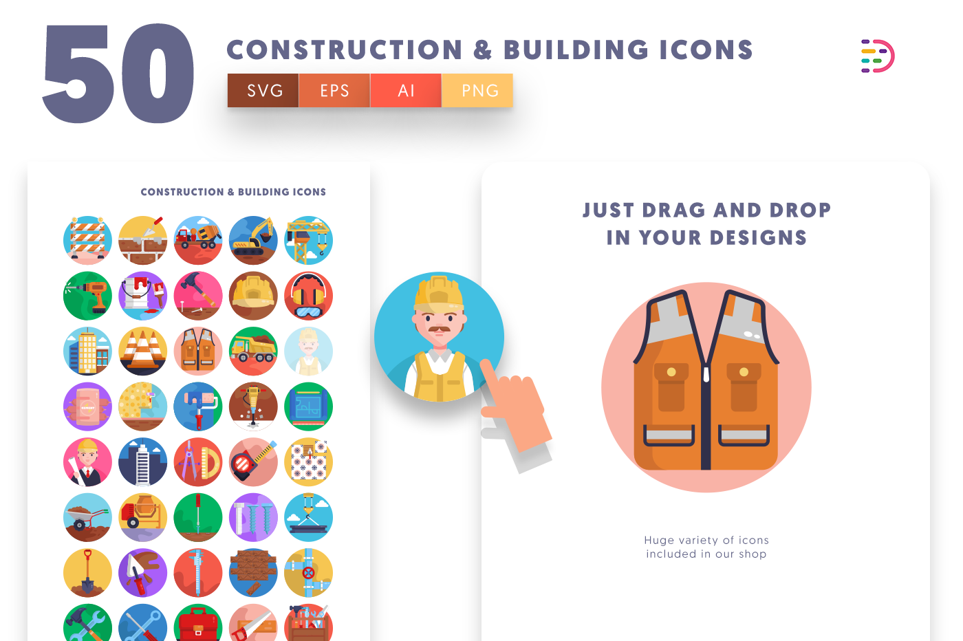 Drag and drop vector 50 Construction & Building Icons