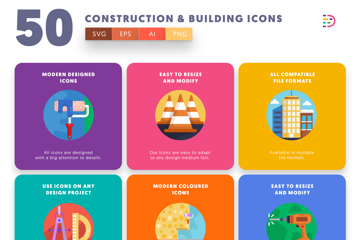 50 Construction & Building Icons with colored backgrounds