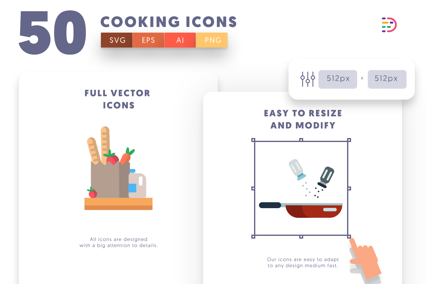 Full vector 50Cooking Icons