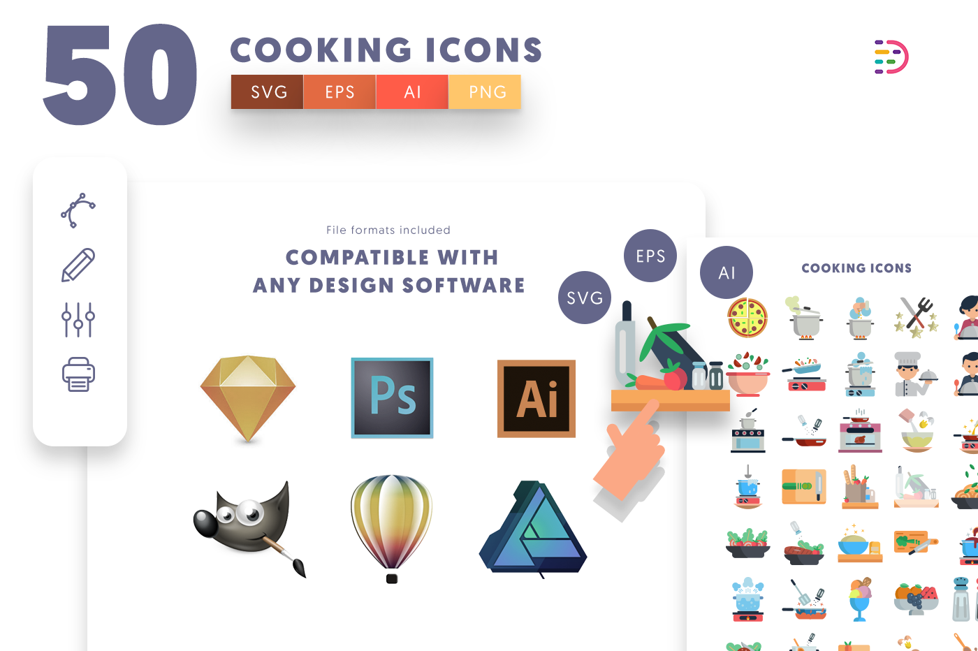 full vector 50 Cooking Icons EPS, SVG, PNG