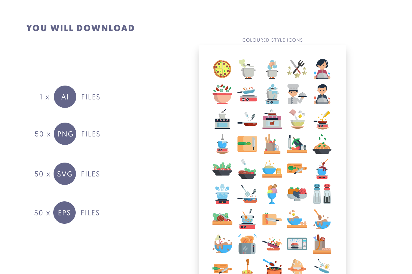 Compatible 50 Cooking Icons pack
