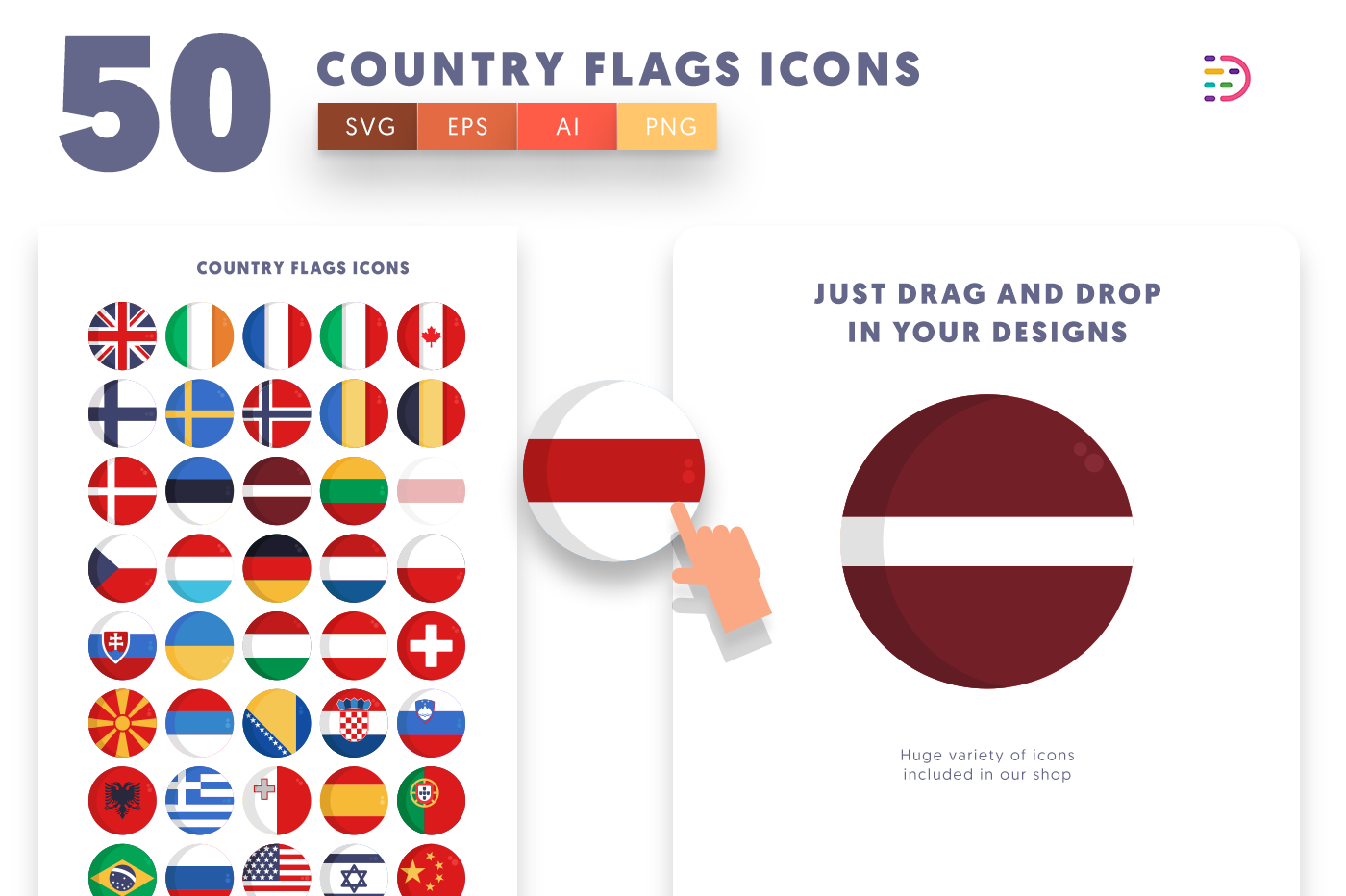 Drag and drop vector 50 Country Flags Icons
