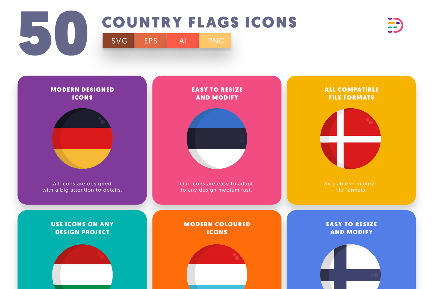 50 Country Flags Icons with colored backgrounds
