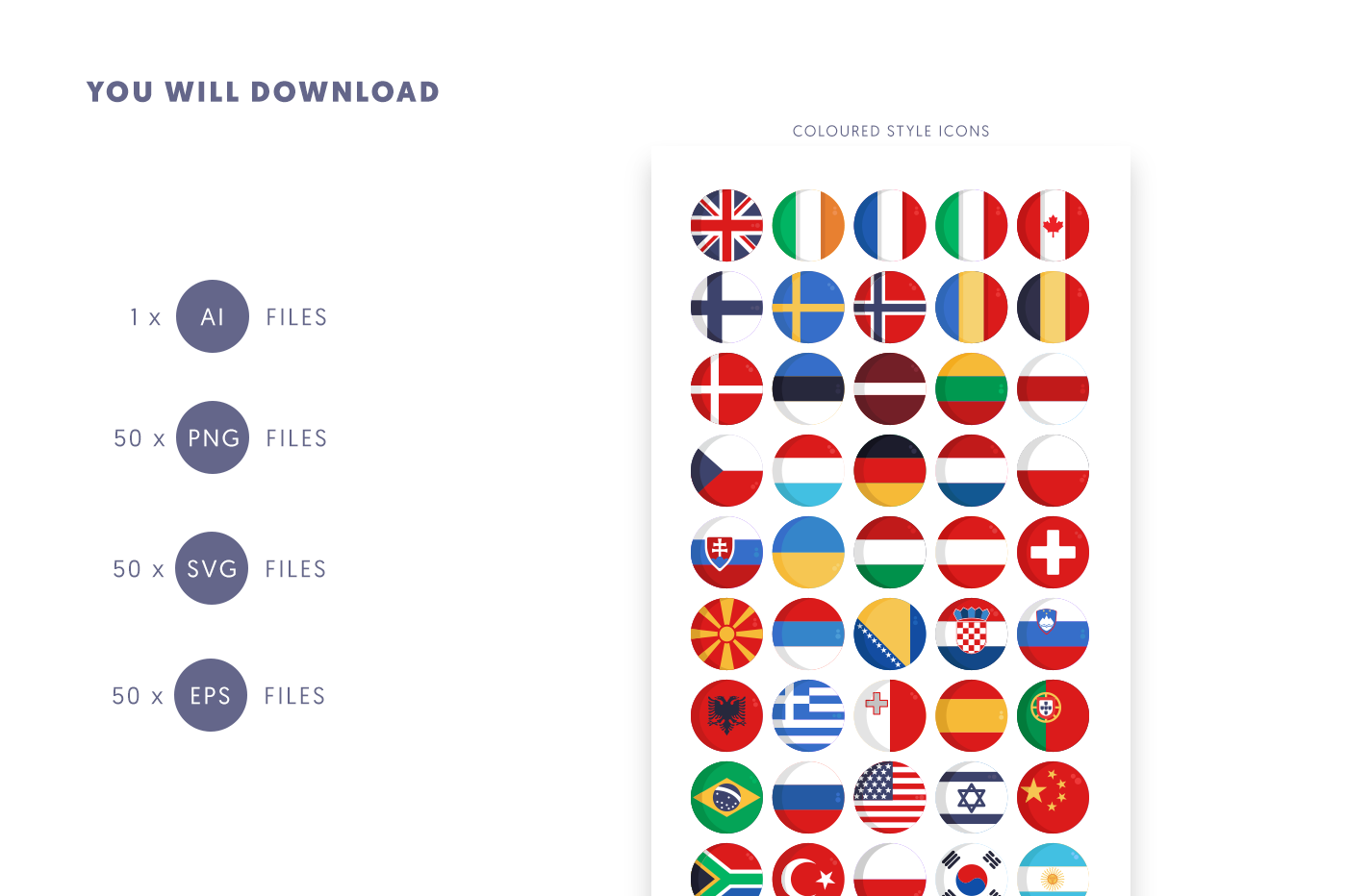 Compatible 50 Country Flags Icons pack