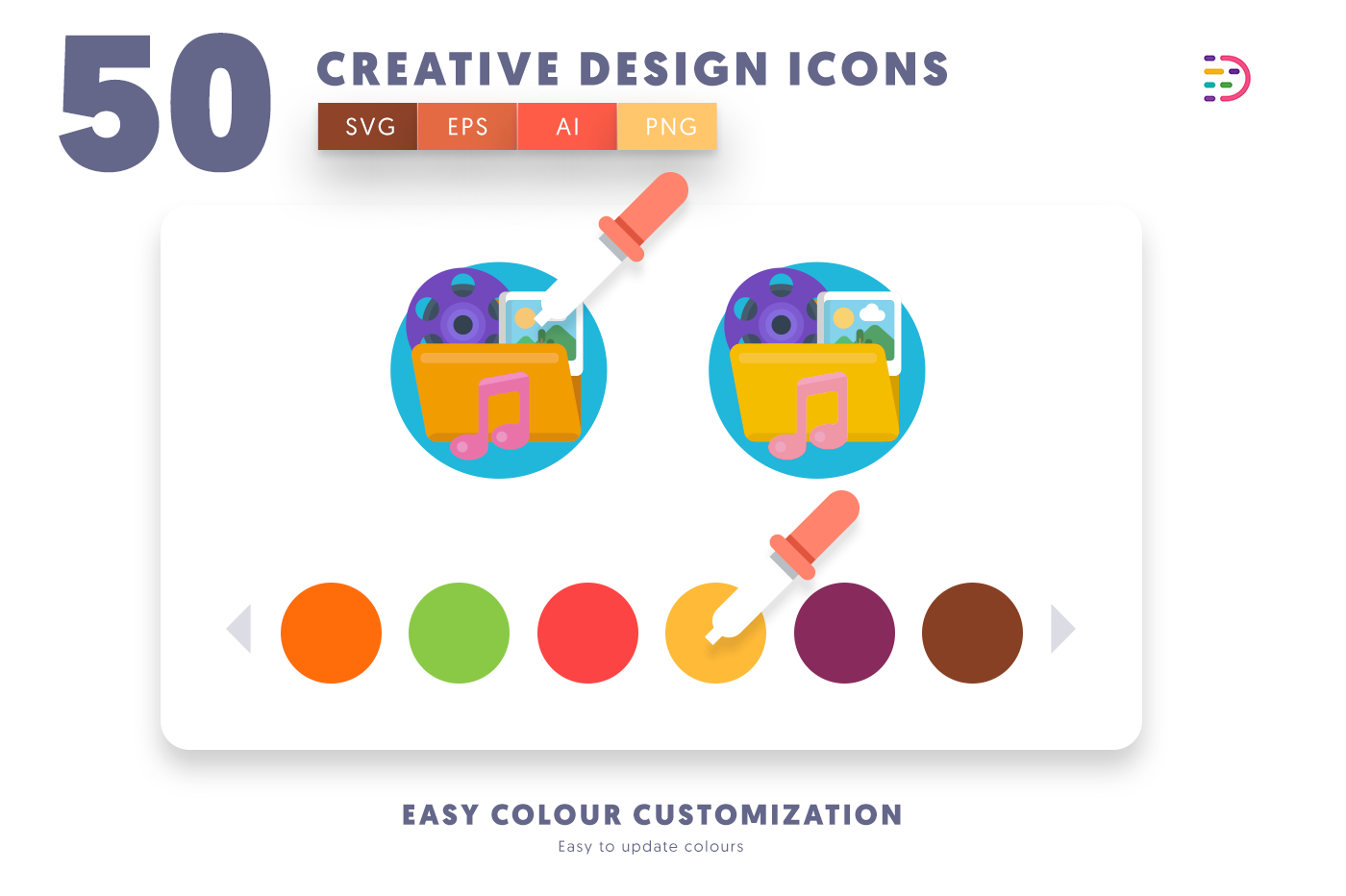 Customizable and vector 50 Creative Design Icons