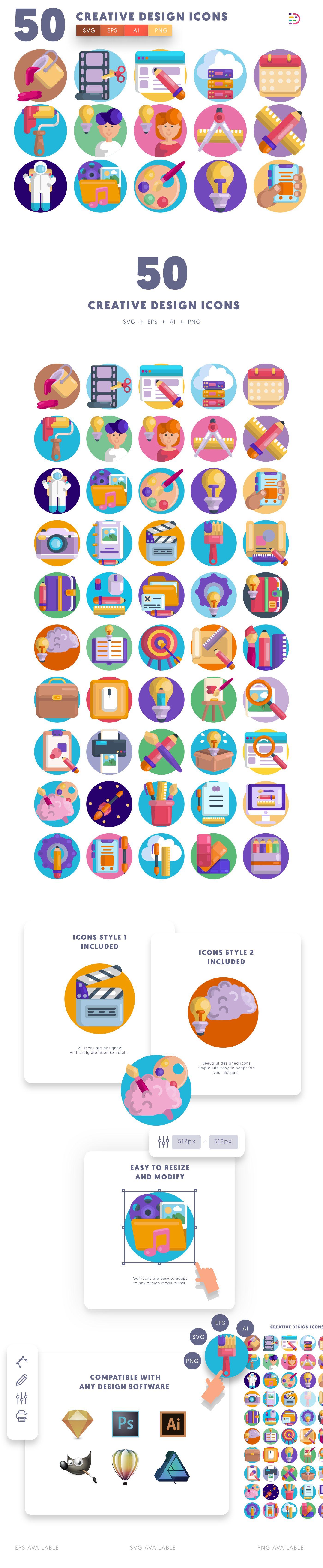 Creative Design icons info graphic