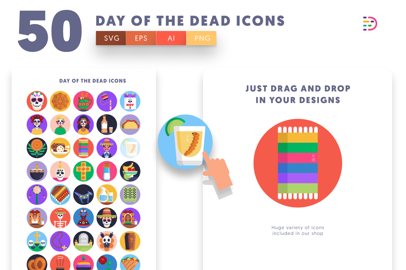Drag and drop vector 50 Day of the Dead Icons